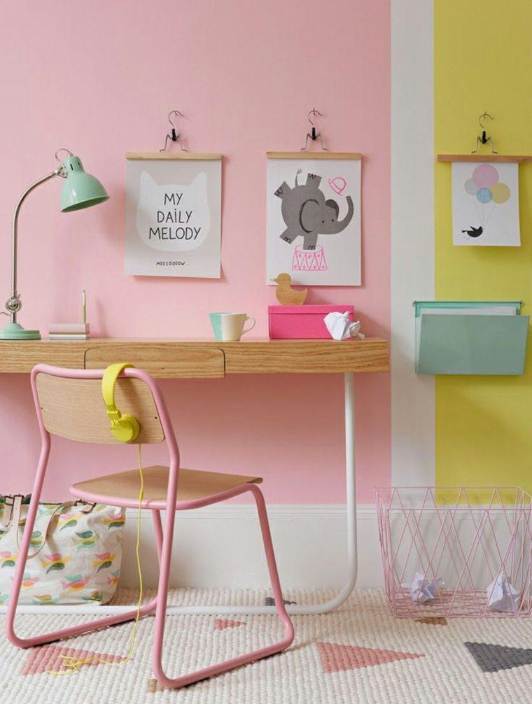 habitación infantil rosa y amarillo