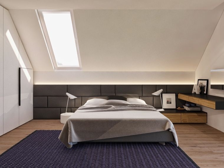 dormitorio moderno en el ático