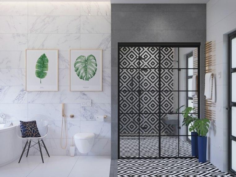 pared-marmol-bano-detalles-metalicos