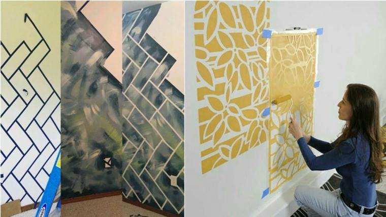 cómo pintar paredes plantillas