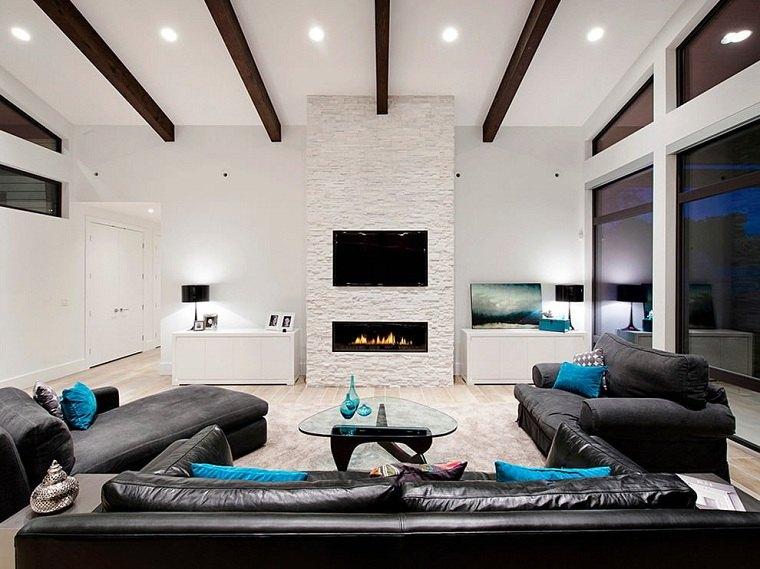 chimenea-blanca-idea-muebles-negros