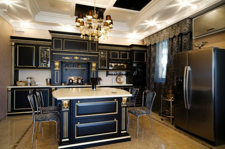 cocina-clasica-ideas-negra-elementos-dorados