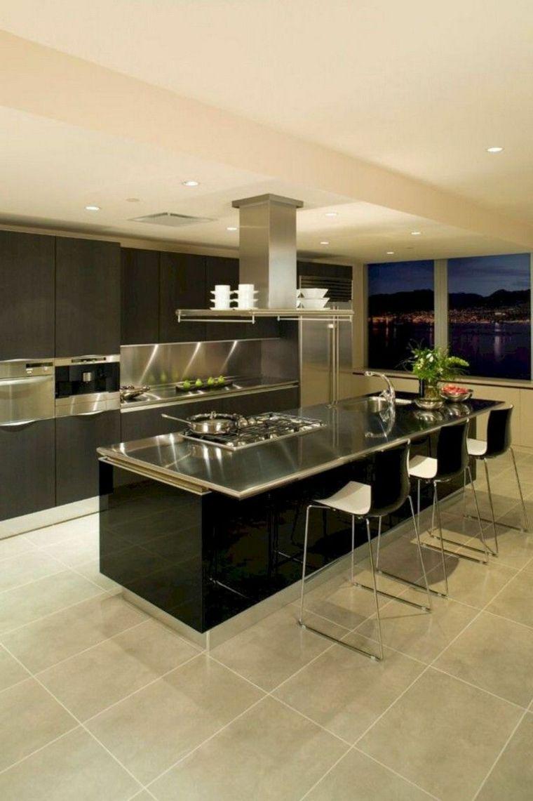 cocina-isla-negra-brillante-estilo-ideas