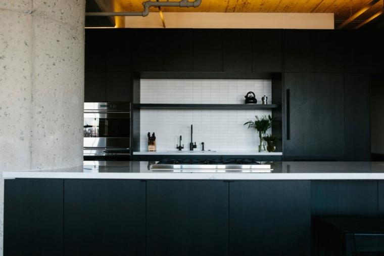cocina negra-salpicadero-blanco-ideas