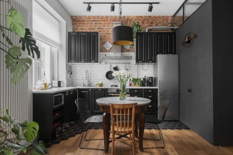 cocina-pequena-ideas-color-negro-diseno