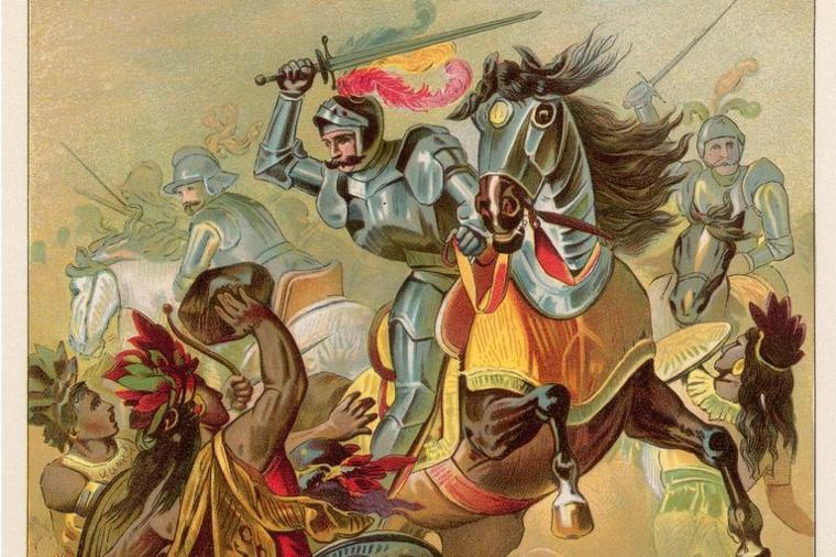 conquistadores contra indígenas