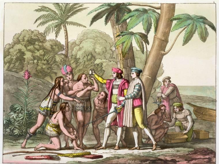conquistadores e indígenas