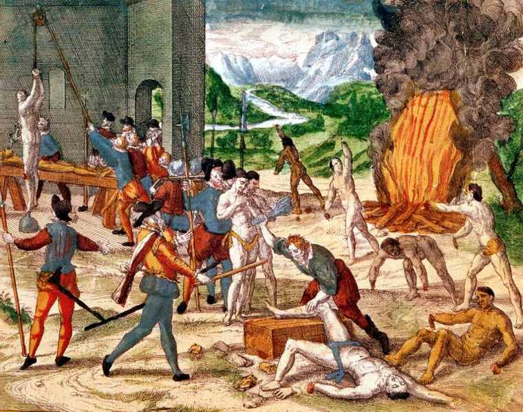 conquistadores torturando indígenas