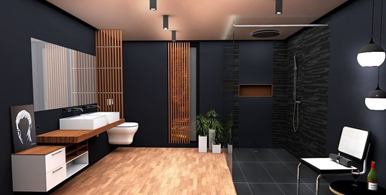 cuarto-bano-negro-madera-ideas