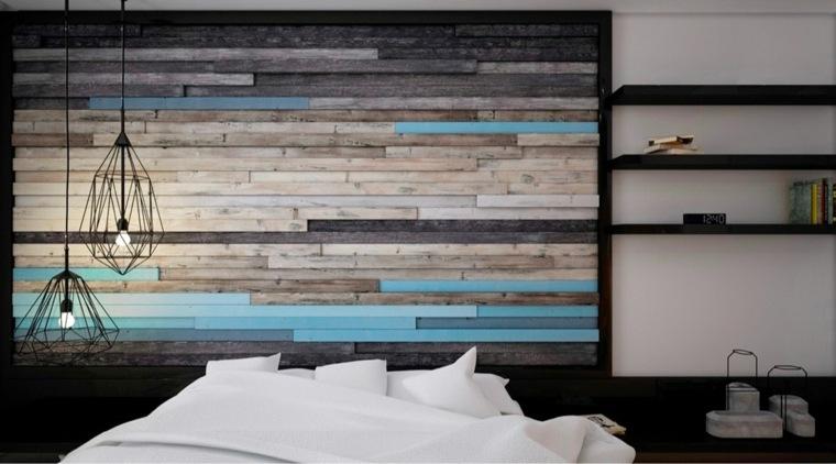 decoración de paredes azul y madera