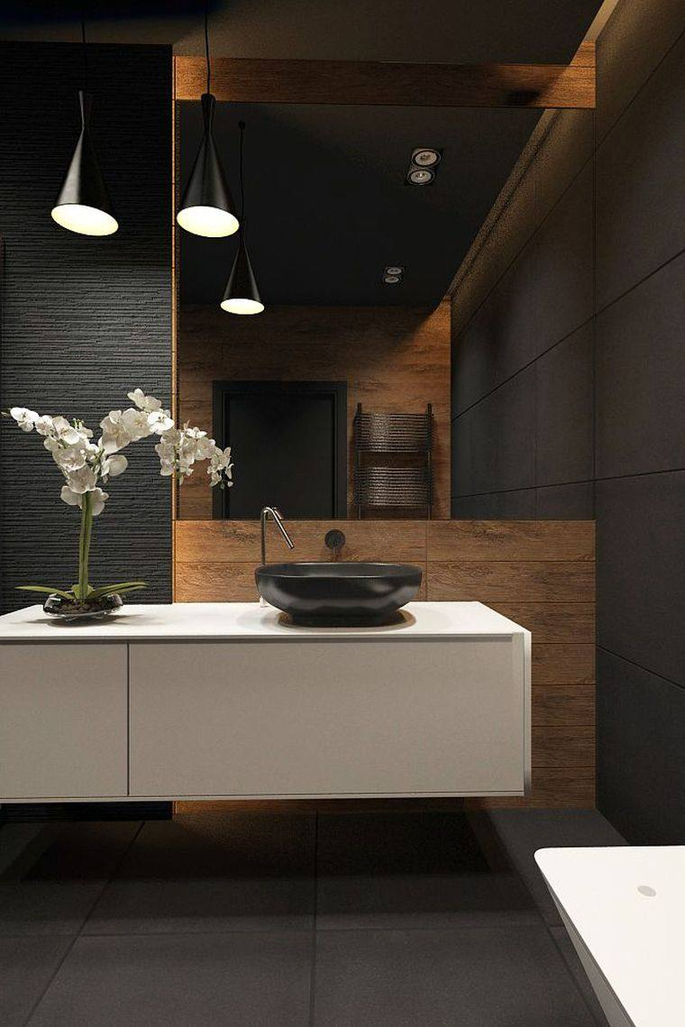 diseños de cuartos de baño-color-ambientes-oscuros