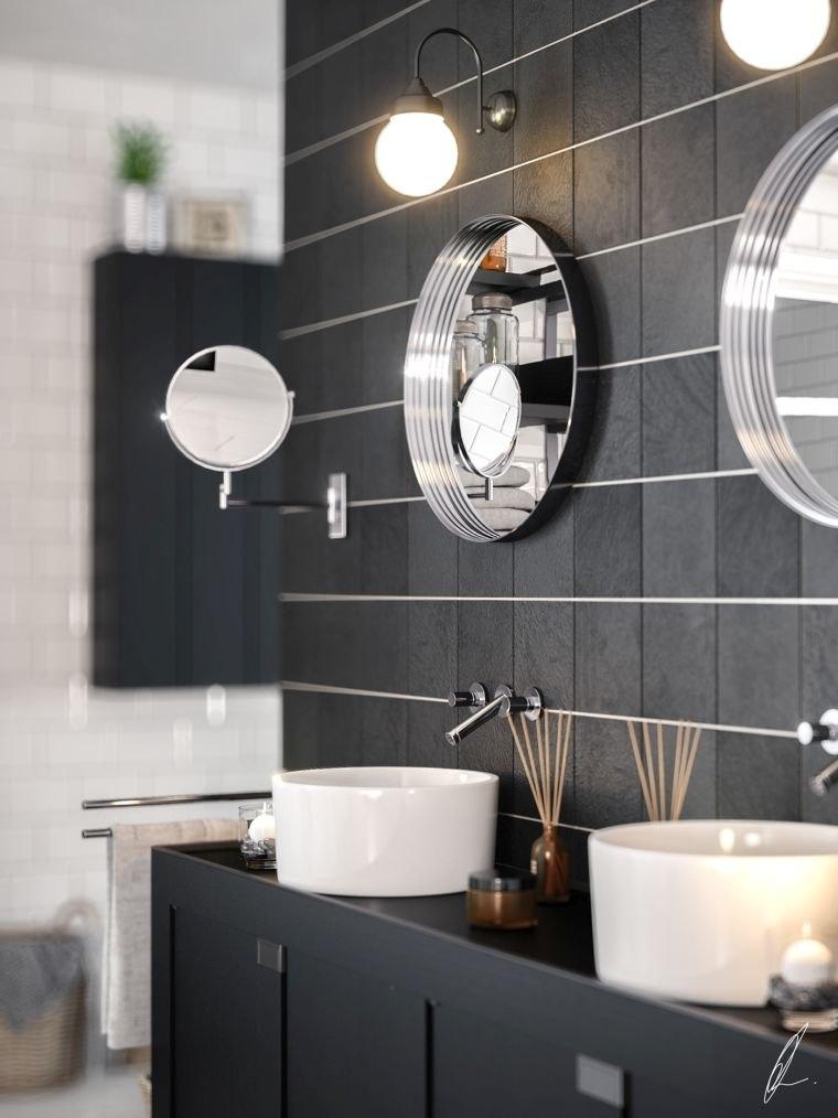 diseños de cuartos de baño-color-baldosas-negras