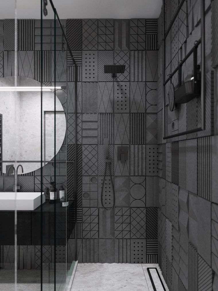 diseños de cuartos de baño-color-espacio-pequeno-gris