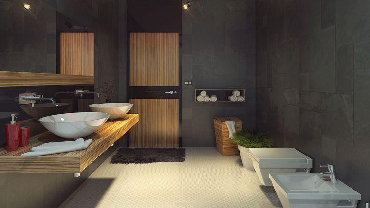 diseños de cuartos de baño-color-gris-oscuro-paredes
