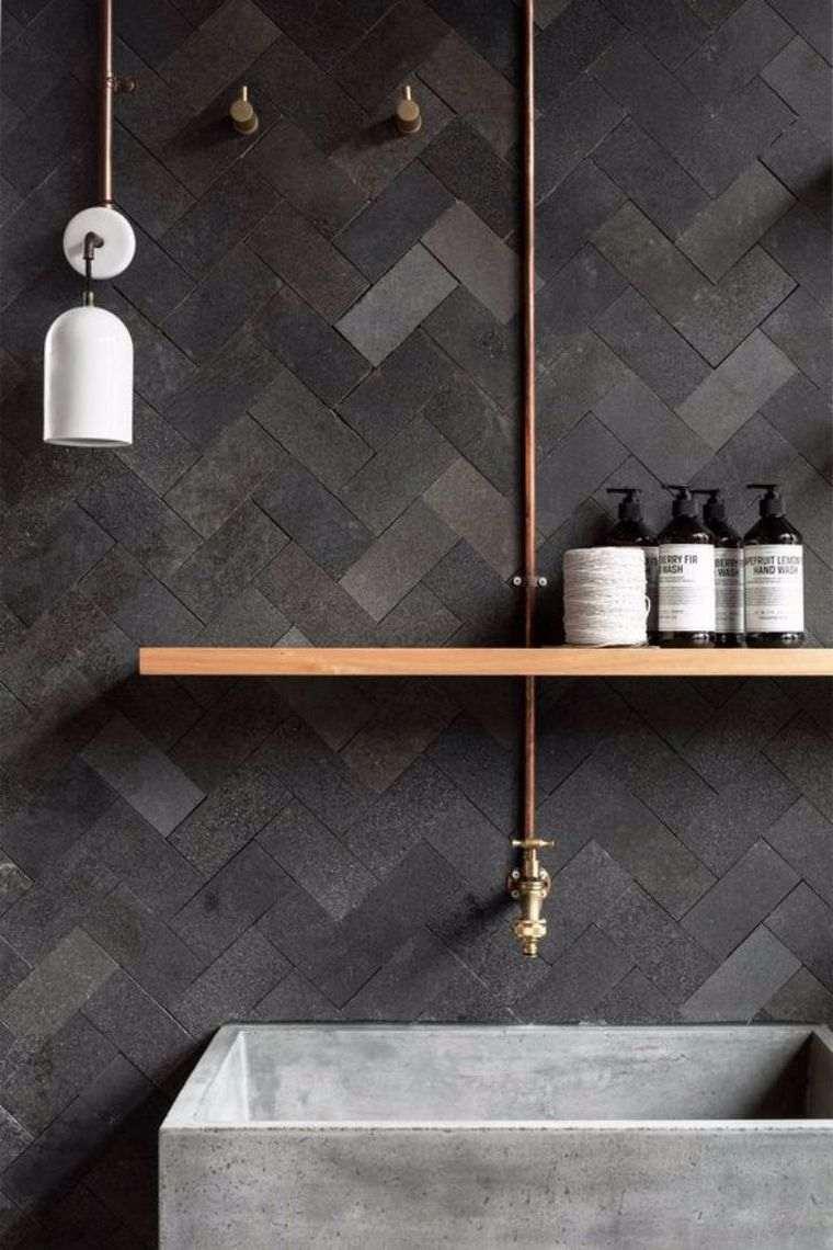 diseños de cuartos de baño color-gris