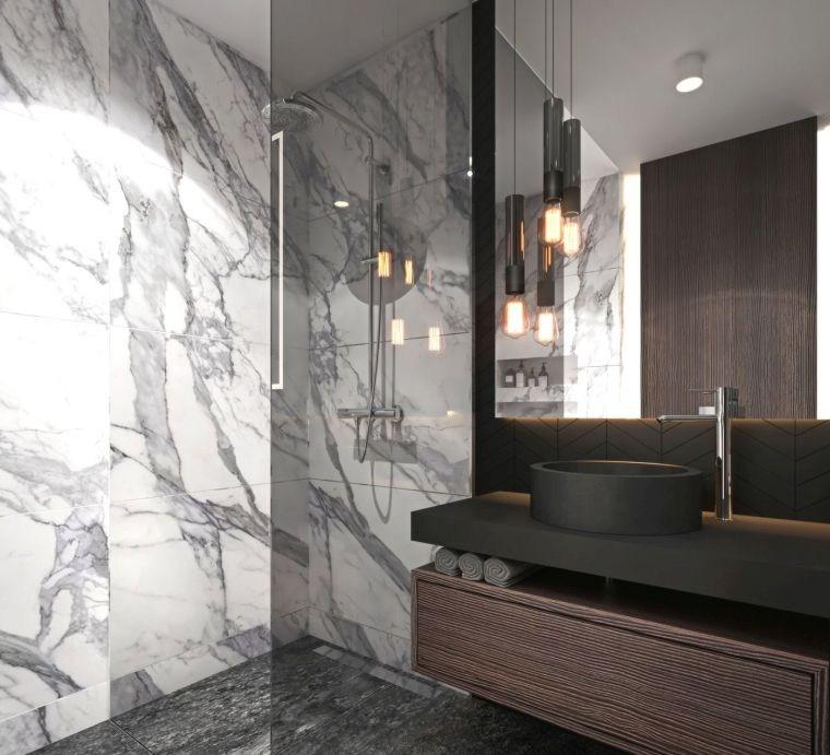 diseños de cuartos de baño-color-marmol-blanco