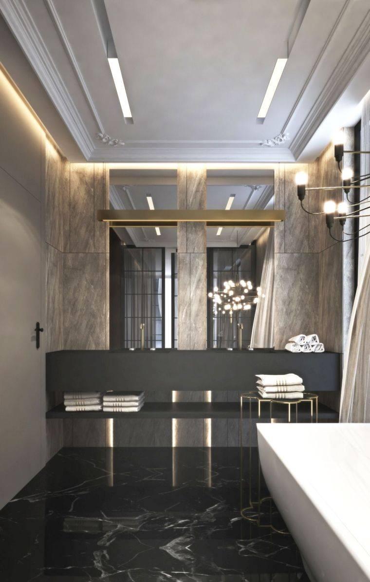diseños de cuartos de baño-color-oscuro