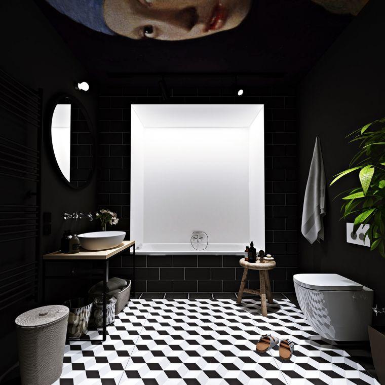 diseños de cuartos de baño-color-suelo-blanco-negro
