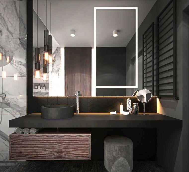 diseños de cuartos de baño espejo-iluminado