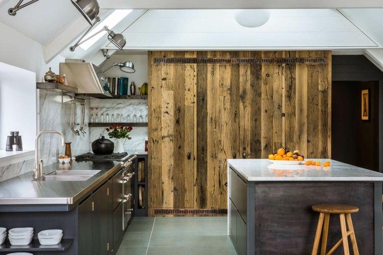 diseños para paredes cocina-marmol-madera-roble