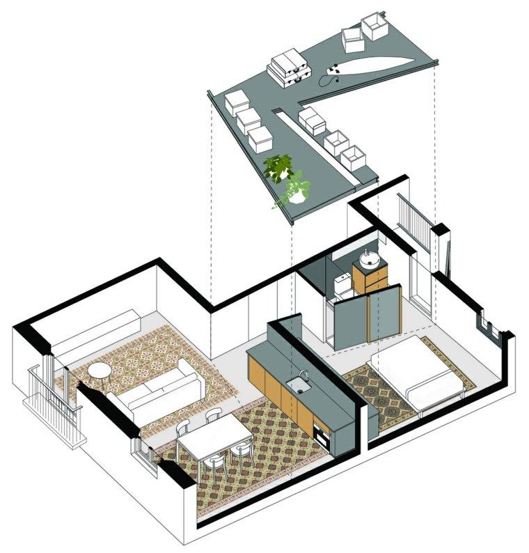 distribución apartamento pequeño