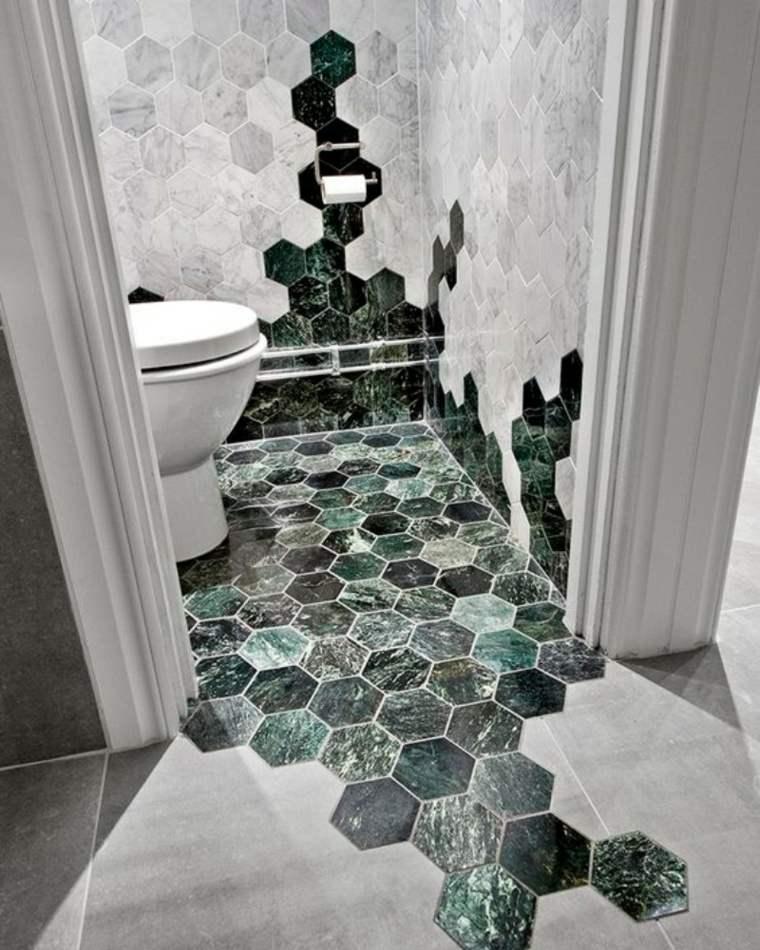 mármol verde azulejos hexagonales