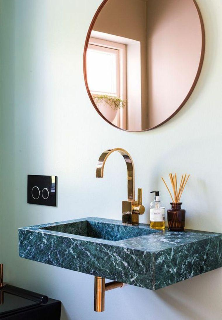 mármol verde lavabo baño