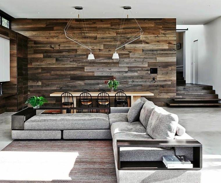 paredes de madera sala de estar