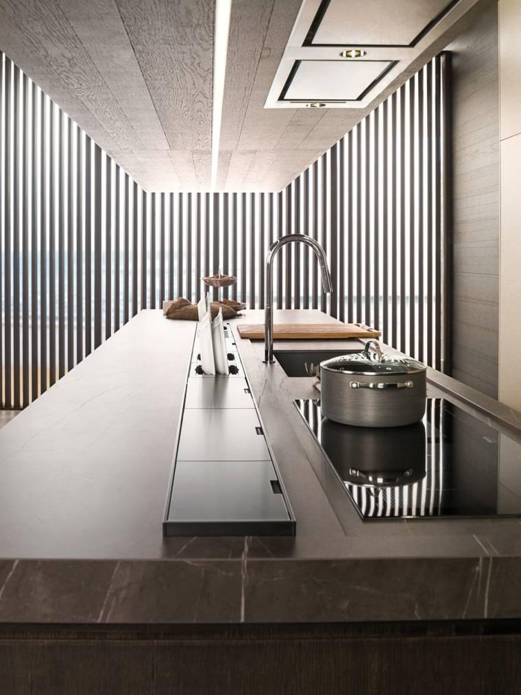 cocina-moderna encimera marrón
