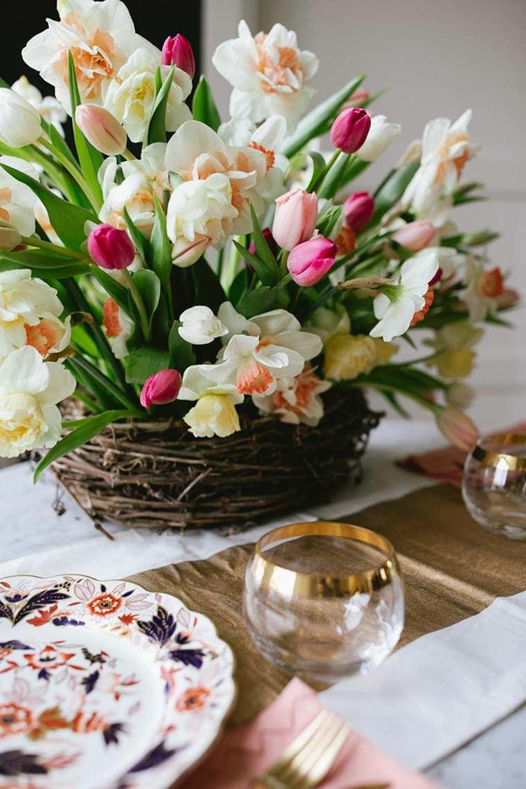 fotos de ramos de flores-primavera-mesa-centro
