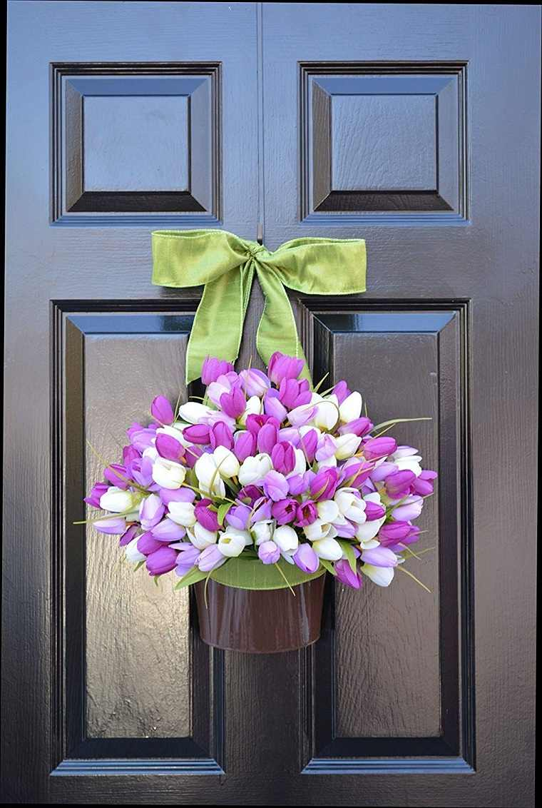 tulipanes-decorar-puerta-ideas