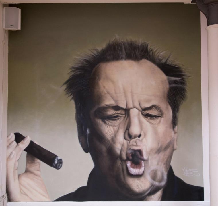 arte callejero retrato de actor
