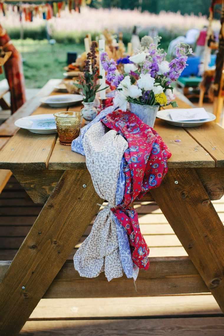 boda boho chic-mesa-camino-telas-estilo