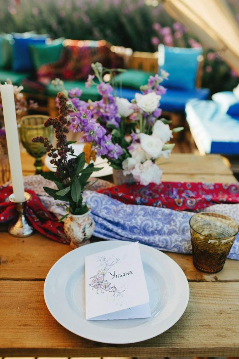 boda boho chic-mesa-camino-telas-ideas