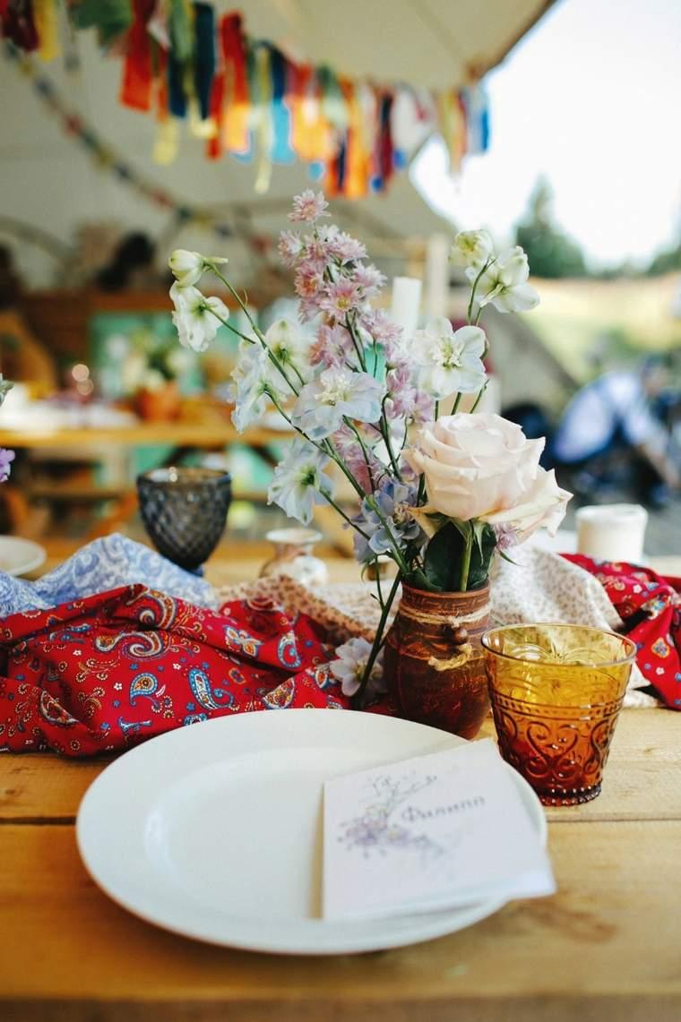 boda boho chic-mesa-camino-telas