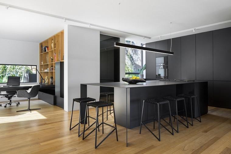 Gabinetes de cocina modernos de acabado liso