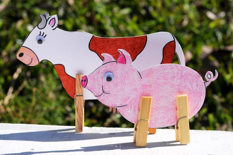 Manaualidad de animales hechos con pinzas de mandera