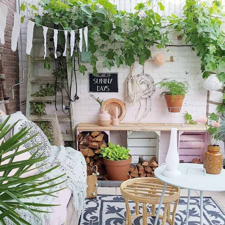 jardín boho e ideas de patio trasero