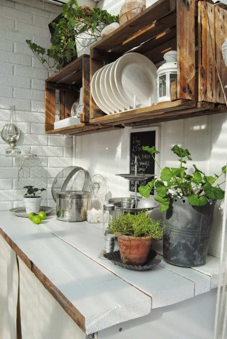 Diseño rústico de cocina al aire libre