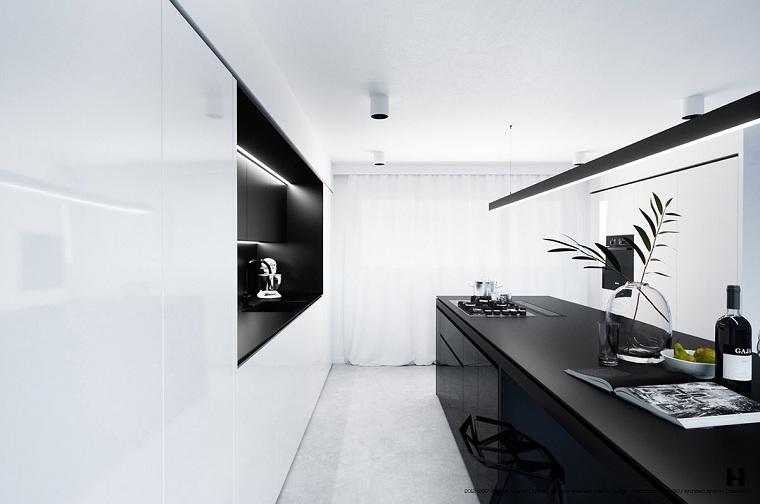 cocinas largas y estrechas-blanco-negro