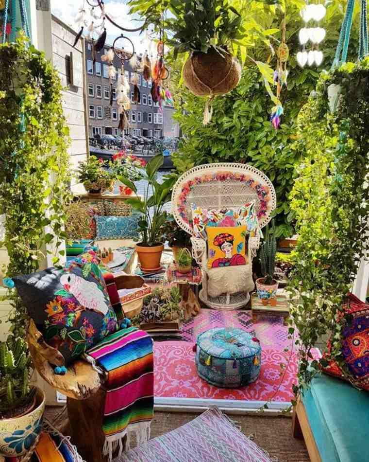 decoracion patio de estilo boho chic