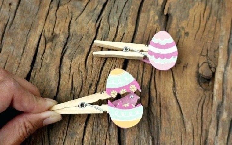 huevos animados hechos con pinzas de madera