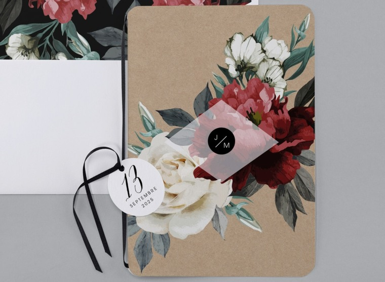 invitaciones de boda rústicas-estilo-flores