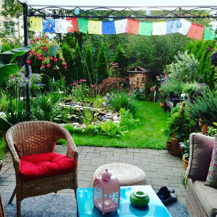 decoración patio boho chic