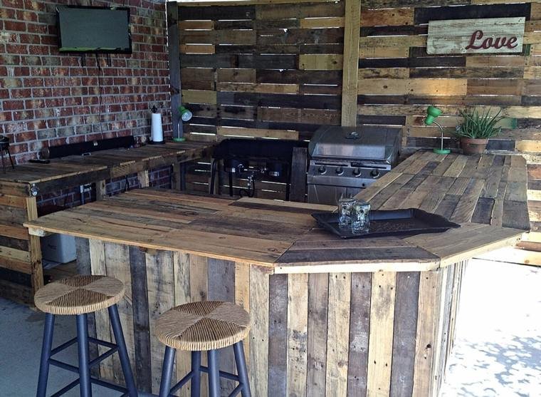 Barra de madera de bricolaje reciclada para exteriores