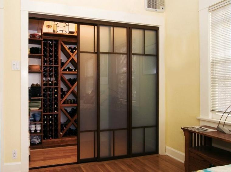 puerta deslizante de acero y vidrio