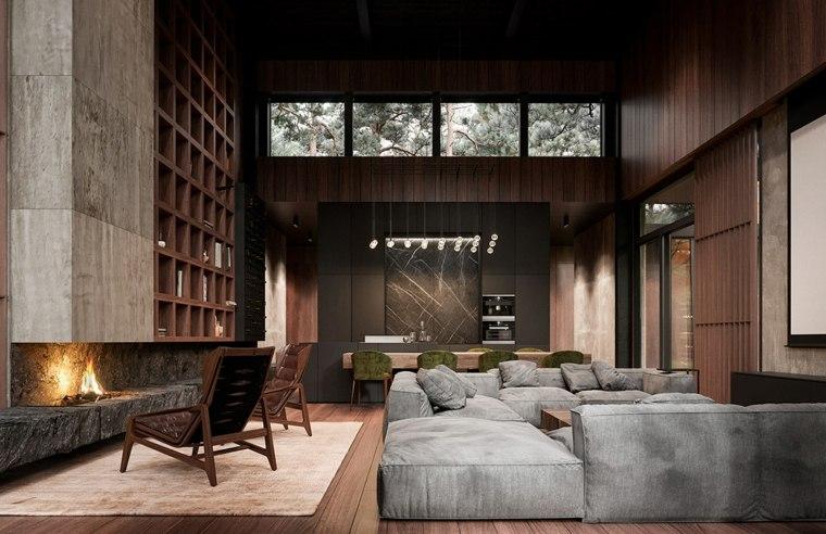 Casas de estilo rústico con interiores modernos