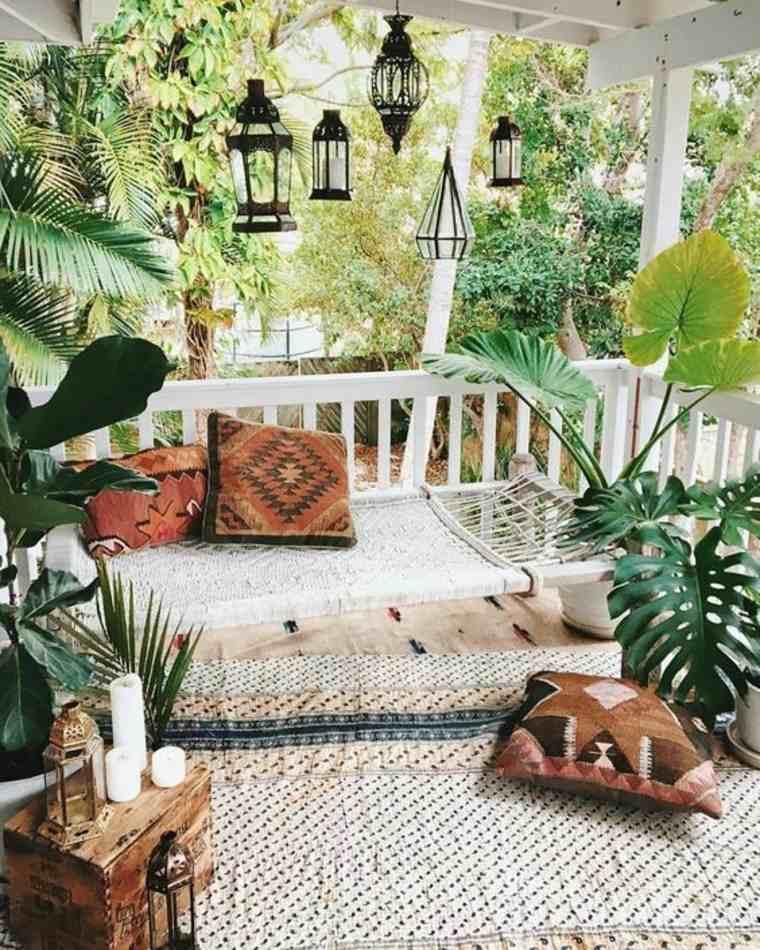 ideas de decoración de jardines boho chic