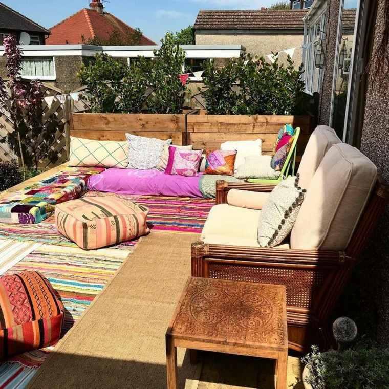 estupendas ideas de decoración de jardines boho chic
