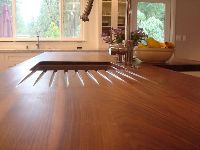 tipos de encimeras de cocina ideas-madera